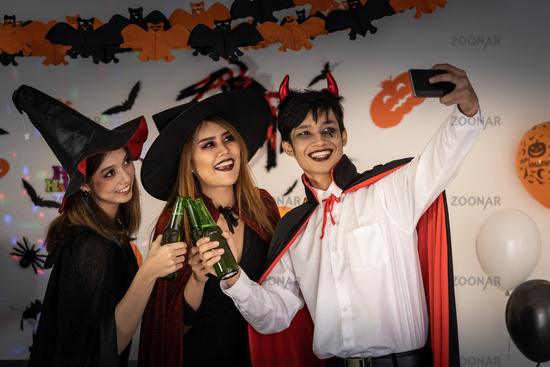 Halloween Party drinking selfie