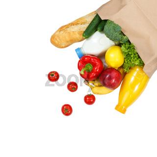 Einkauf Lebensmittel einkaufen Früchte Obst und Gemüse Textfreiraum Copyspace Papiertüte freigestellt Freisteller isoliert