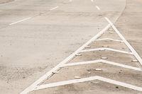 road detail, highway background - white lines on asphalt road -