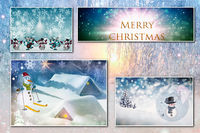 Collage of four Christmas images on the background of the winter forest