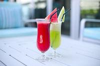 Glasses of fresh fruit juice