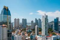 Panama City Skyline panorama from high viewpoint - modern cityscape -