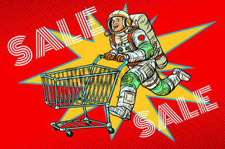 Astronaut on sale. shopping cart trolley