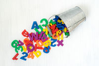 Numbers and letters falling from bucket