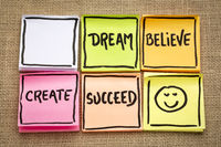 dream, believe, create and succeed concept