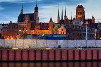 Gdansk Old Town Skyline At Dusk