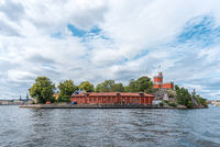 View of Stockholms island Skeppsholmen from the gulf