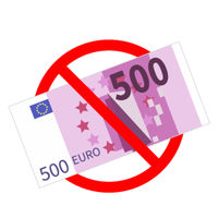 Five hundred euro banknotes are not allowed, red forbidden sign isolated on white