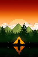 camping tent in the evening mountains nature
