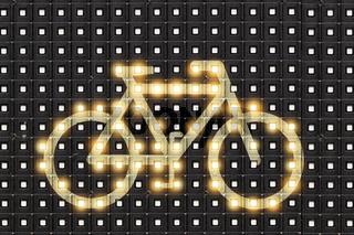Dots matrix led diplay panel with illuminated symbol of bicycle