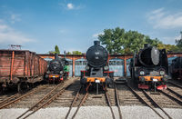 Steam locomotives in the old trains depot
