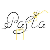 Noodles Silhouette. Italian Spaghetti or Boiled Pasta. Stylized Lettering on White Background.