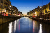 Milan Canal Naviglio Decorated for Christmas Winter 2016 Destination Travel Italy River Water Afternoon Sunset