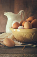 Fresh country eggs in bowl on table