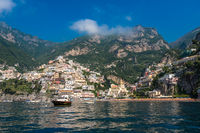 Panoramic view of Positano, small town on Amalfi Coast, Campania, Italy