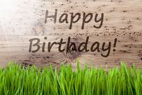 Bright Sunny Wooden Background, Gras, Text Happy Birthday