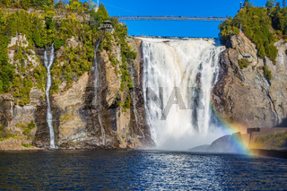 Rainbow in the spray of a waterfall