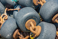 Bobbins used for shrimp fishing nets at Dutch Wadden sea