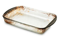 Old empty glass  baking tray