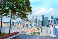 Aerial Singapore cityscape from viewpoint