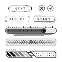 Simple black futuristic UI elements and buttons isolated on white