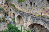 Medieval fortifications Luxembourg city downtown Grund with stairs and footpath