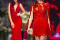 Fashion catwalk runway show models red dress