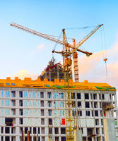 Cranes, construction site, apartments, architecture