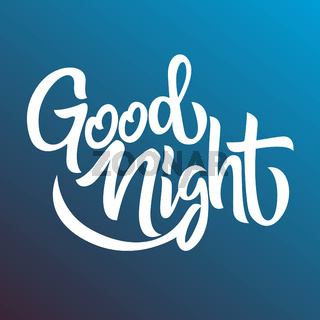 Good night handwriting lettering isolated, design for typography