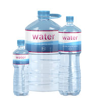 Different water bottles on white background