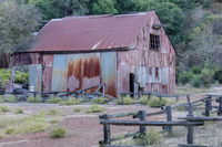 English Camp Barn. Old corrugated sheet metal barn used in Mercury Mining at Almaden Quicksilver Cou