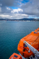 Wellington city view from a ferry, New Zealand