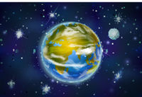 Earth planet with moon on deep space background with bright stars and constellations