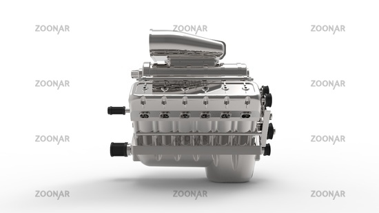 3d rendering of a v12 engine isolated in white background