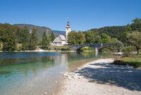 die Kirche Sveti Janez am Bohinjsee,Triglav Nationalpark,Slowenien