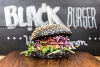 Burger beeing sold on international urban street food festival.