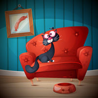 Who is sitting on the couch. Cartoon illustration.
