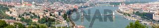 Panorama of Buda Castle and Chain Bridge, Budapest, Hungary