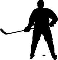 Silhouette of hockey player. Isolated on white