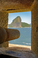 Cannon in the Santa Cruz fortification in Niterói pointed to the hill of Sugar Loaf and Guanabara Bay