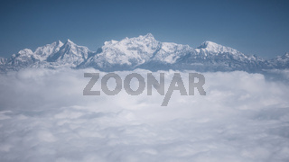The Himalayas as seen from an airplane, Nepal