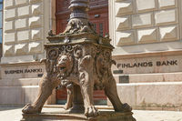 Detail of statue in front of national Finland bank in Helsinki, Finland