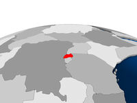 Rwanda on political globe