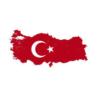 Turkey country silhouette with flag on background, isolated on white