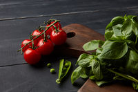 Fresh vegetables and herbs on a dark wooden background.