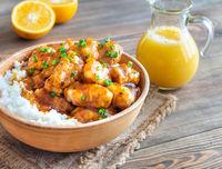 Bowl of orange chicken