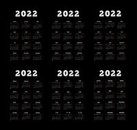 Set of 2022 year simple vertical calendars on different languages like english, german, russian, french, spanish and chinese on dark background