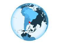 Uruguay on blue globe isolated