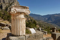 The ancient Greek column in Delphi, Greece.