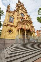 bottom view of Jesus De Nazarene Church Prado district in Medellin